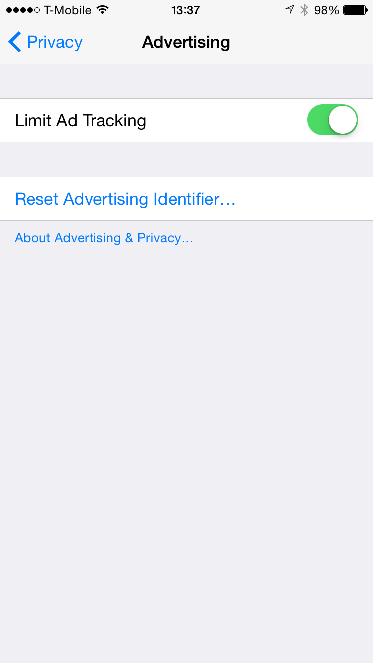 iOS Privacy Settings: Limit Ad Tracking