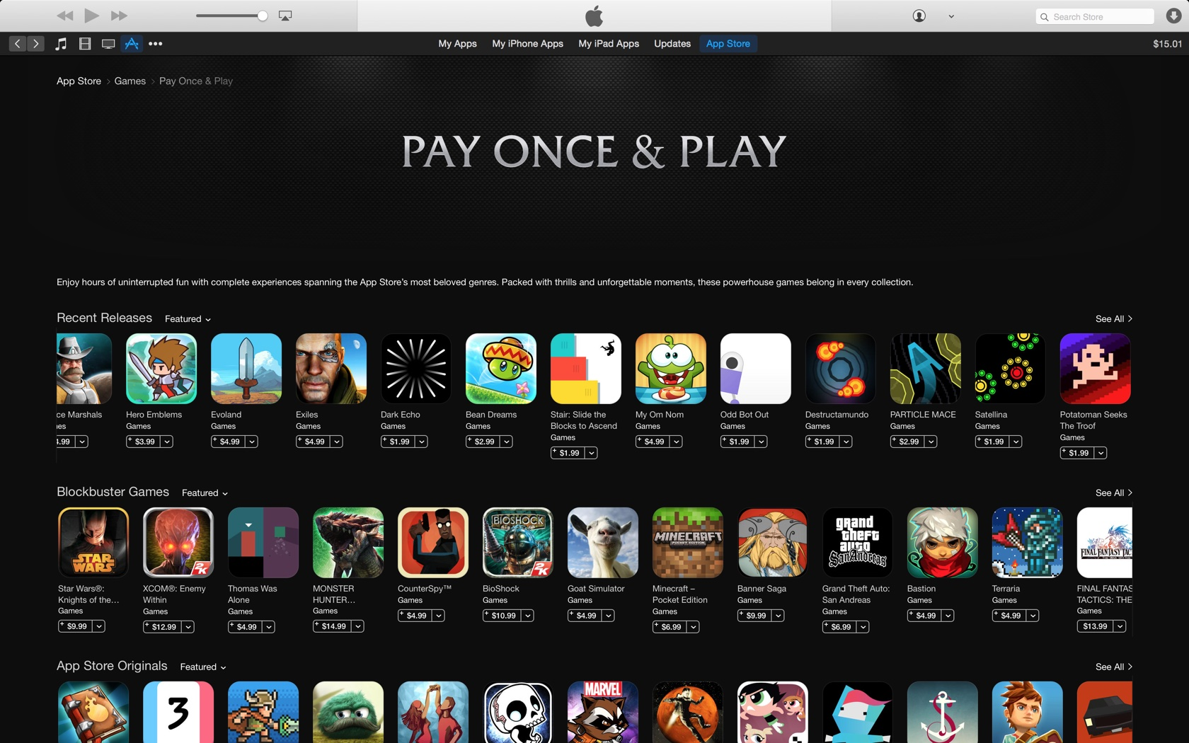 iTunes App StorePay Once and Play