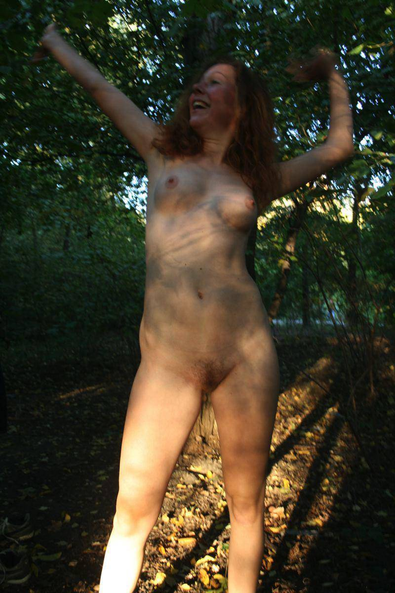 canthaveitathome:  puff-tentacle:  Feeling free in the forest!  .  Woods nymph, morning stretch, and another day of nonstop masturbation and stoned mountain biker stalking.