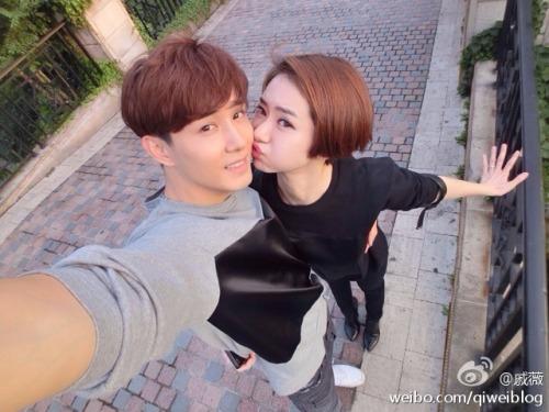 Qi Wei smooching boyfriend Nathan Lee
