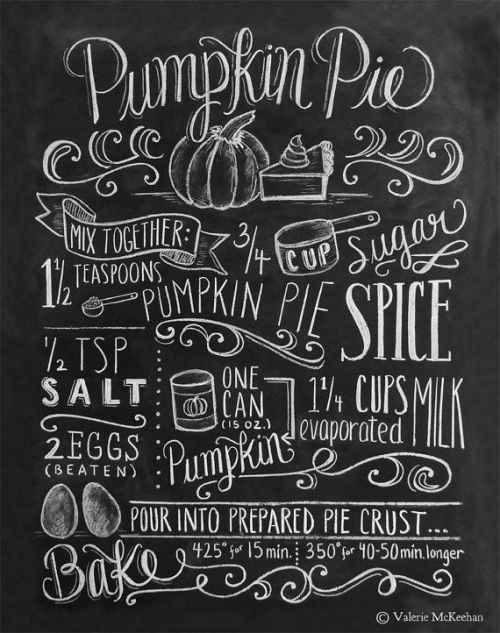 Fall Ideas and Inspiration Pumpkin Pie Recipe Chalkboard Print- Fall In Love with Fall- Fall Inspiration Pics  Frosted Events  www.frostedevents.com