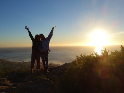 The wild at heart against sunset view at Signal Hill, Table Mountain.( Photo credited to F.Z Joe)