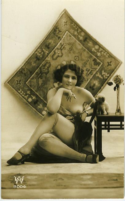 grandma-did:  Unidentified studio, Series 8004  Gorgeous vintage breast reveal. Her face!
