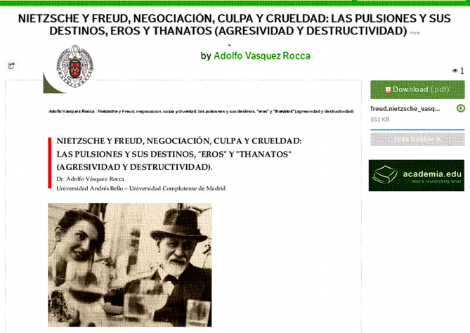 (vía NIETZSCHE Y FREUD, NEGOCIACIÓN, CULPA Y CRUELDAD: EROS Y THANATOS [MUERTE] DR. ADOLFO VÁSQUEZ ROCCA)