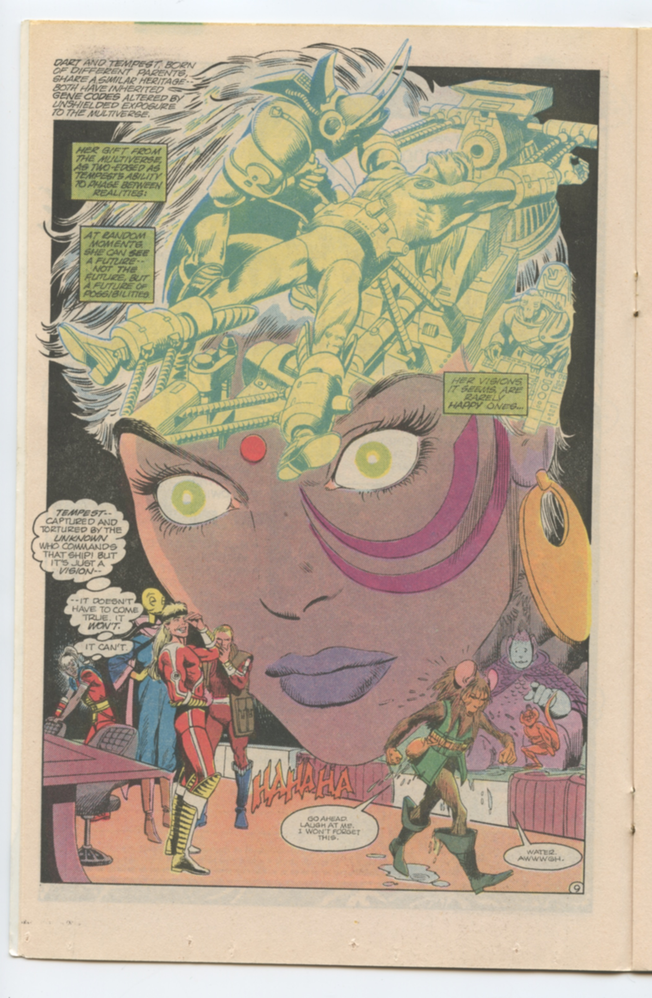 An image of a comic book page, circa 1970s. The page shows the large purple face of a woman leaning out over several smaller figures. The top portion of the woman's head is a blue and yellow drawing of a superhero suspended by machinery as if for surgery.