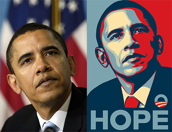 A side by side image comparing an AP photograph of then Senator Obama to the famous posterized image made by Shepard Fairey based on the same photograph.