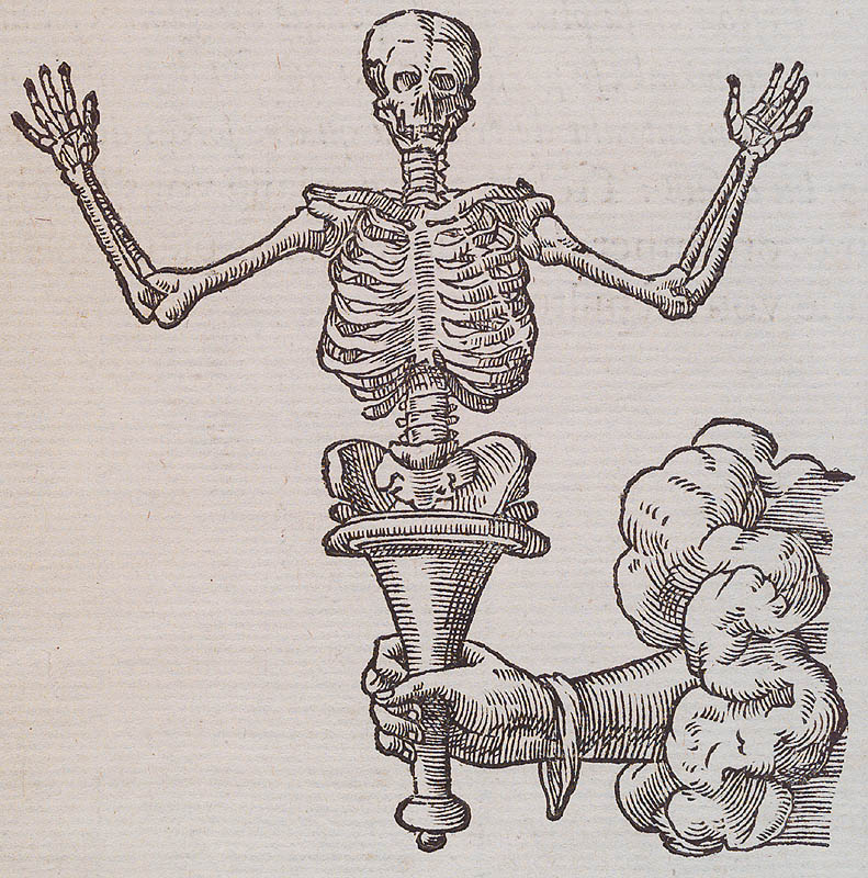 An engraving of a hand coming out of a cloud and holding a metal cone out of which rises a skeleton torso with its arms raised.