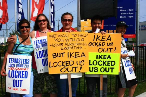 Locked-out IKEA workers in Richmond, BC (photo credit: Teamsters Local 213)