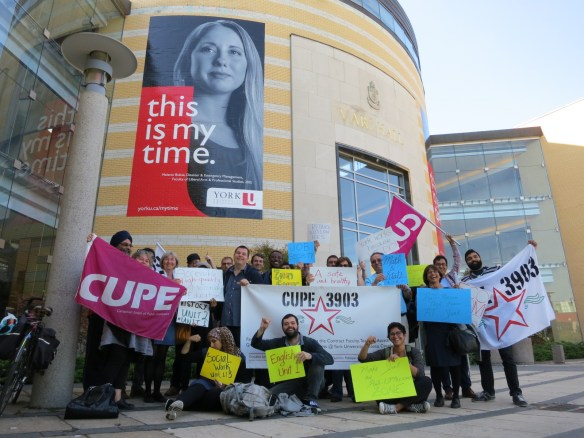 CUPE 3903 members pose in front of Vari Hall, just before the bargaining meeting with the Employer on September 26, 2014.