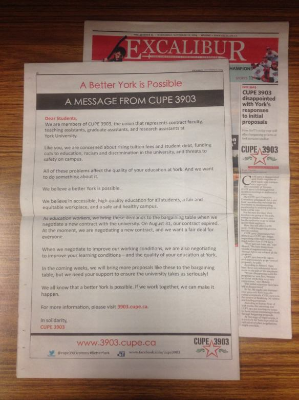 The November 12 issue of The Excalibur, featuring a full-page ad on the back cover that engages undergrads about bargaining