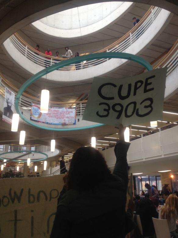 """""""What's your vision? Free tuition!"""" CUPE 3903 members rally in solidarity with undergraduates in the Student Centre on October 21."""