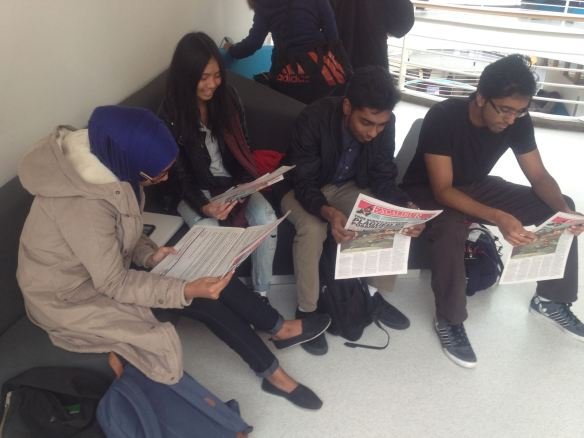 """York undergrads read """"A message from CUPE 3903"""" in the November 12 issue of The Excalibur."""