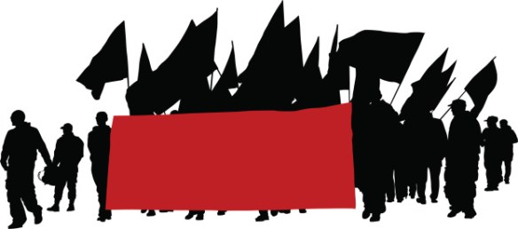 A silhouette of members carrying a large red banner