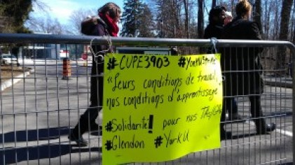 Picket line with metal safety gate at Glendon campus