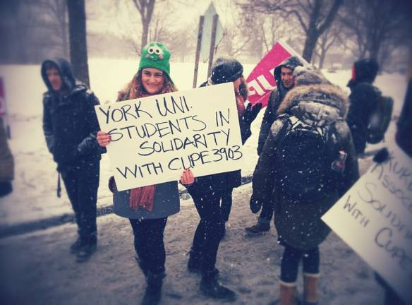 York undergraduate students walk the picket line with striking CUPE 3903 members.