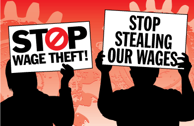 Two figures hold signs against wage theft.