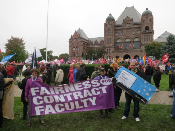 Andrea Calver, Engagement and Campaigns Coordinator and OCUFA associates, at Queen's Park Rally.