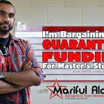 "A picture of Mariful Alam, Unit 3 bargaining team, with the words ""I'm bargaining for guaranteed funding for Master's students""."