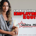"""A picture of Sabina Mirza, bargaining team recording secretary, with the words """"I'm bargaining for employment equity""""."""