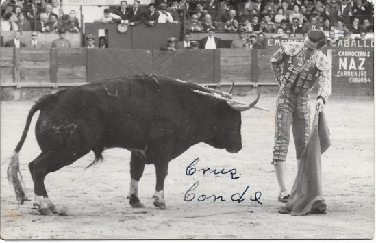 Ray Hughes bullfighter, postcard