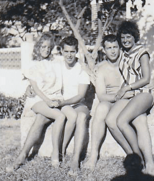 314x369 B Vickery pic-Sheila Hardie,Jim Allen,Bill Vickery,Margo Scott-Torremolinos 1963. Jim was K9.