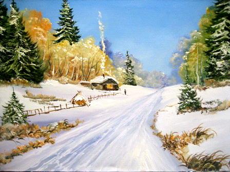 Зимняя дорога. Работа Анатолия Резчикова