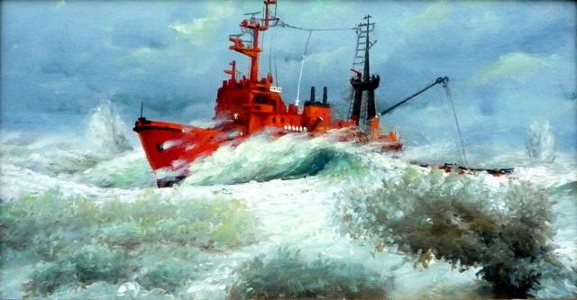 Толчея волн в центре циклона.Работа Виктора Батищева