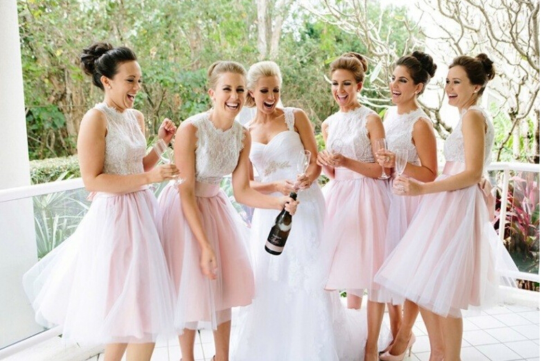 Tulle Short Pink Bridesmaid Dress, Wedding Party Dresses