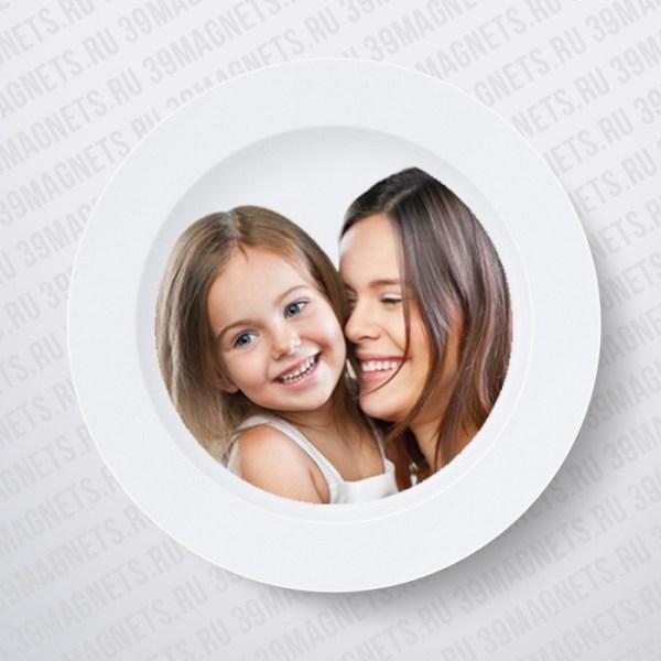 Тарелка с фото и надписью на заказ белая