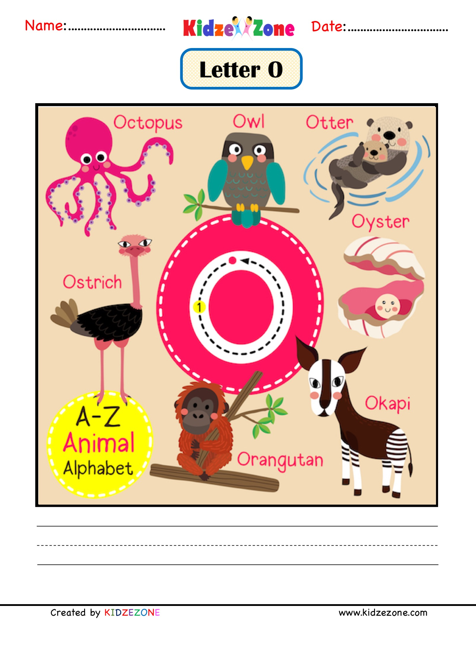 Kindergarten Letter O Animal Picture Cards Worksheet