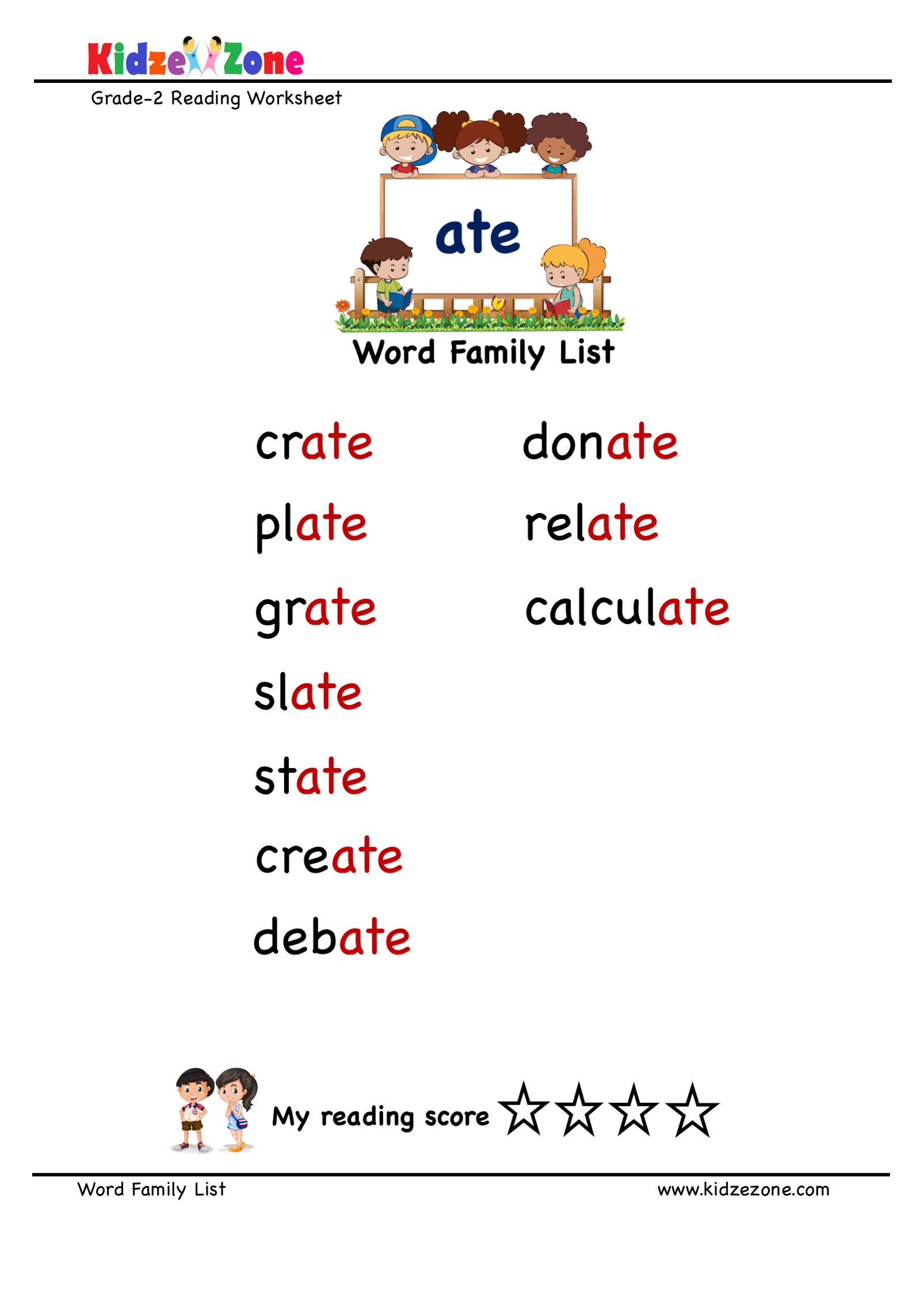 Explore And Learn Words From Ate Word Family With Word
