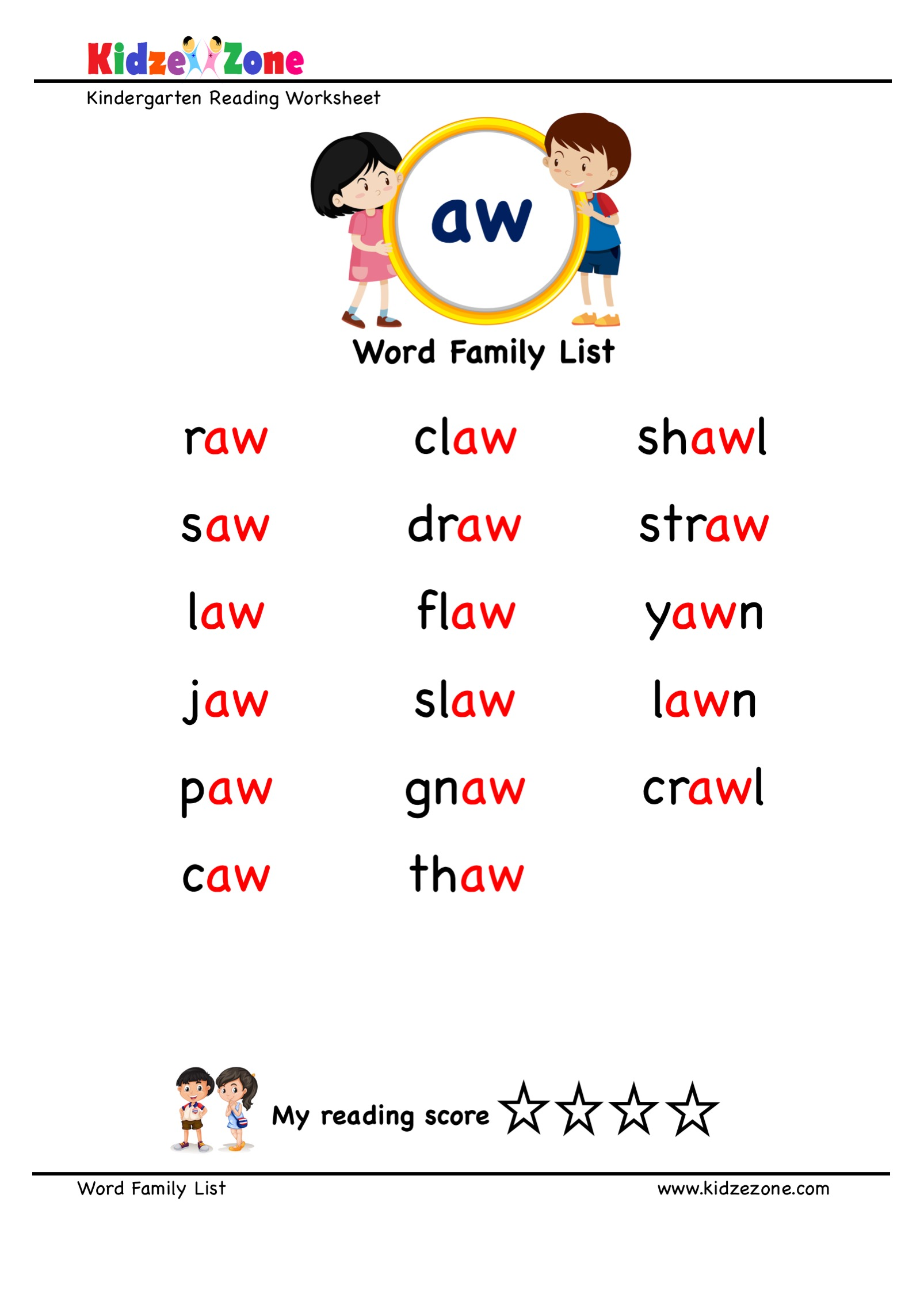 Explore And Learn Words From Aw Word Family With Word