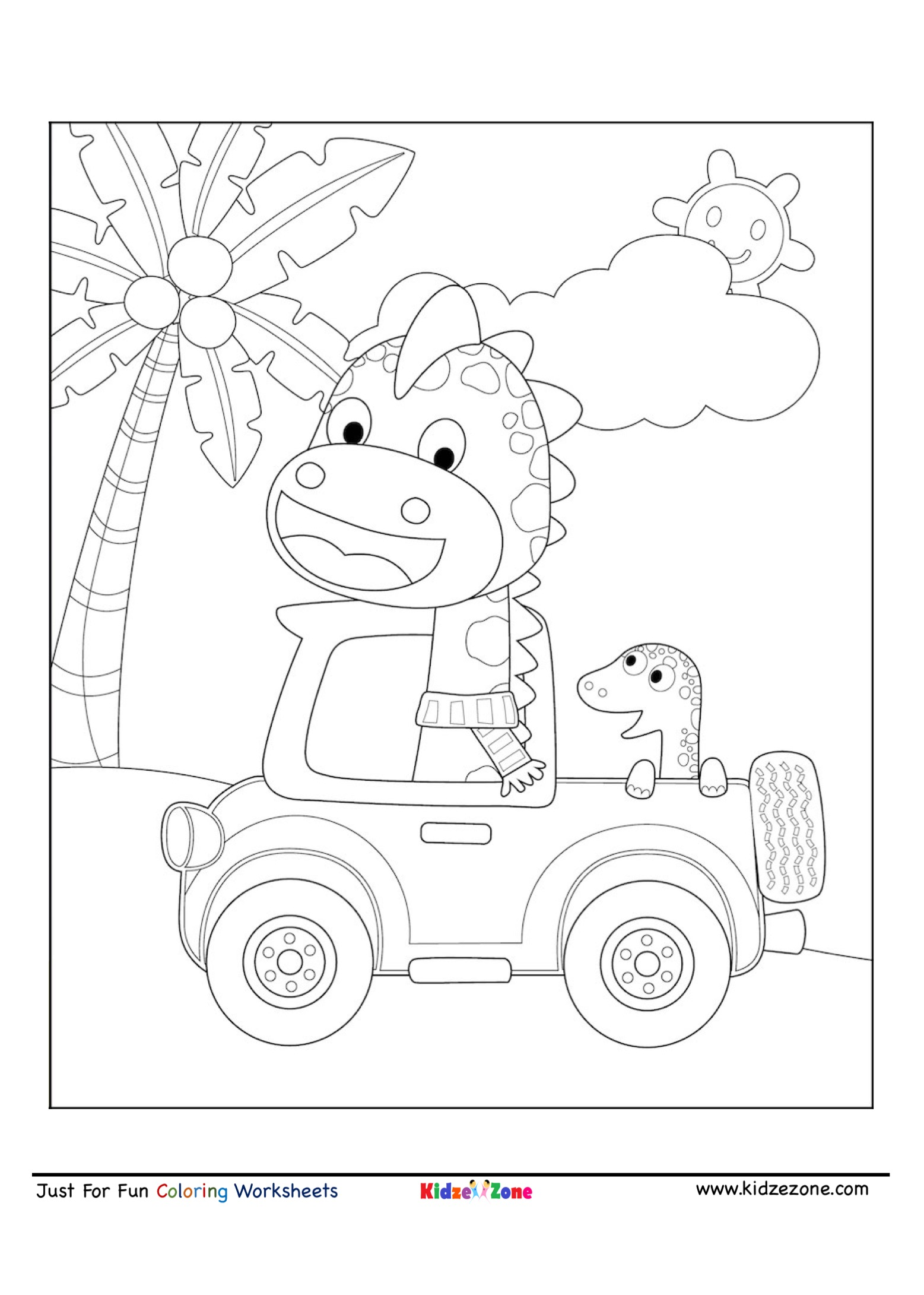 Giraffe And Friends Driving Coloring Page