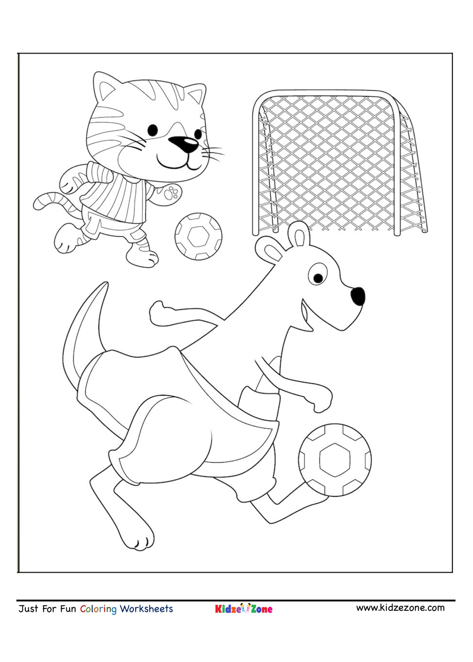 Kangaroo And Tiger Soccer Coloring Page