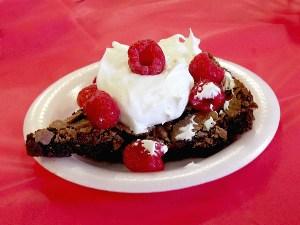Chocolate Brownie and Raspberry Dessert