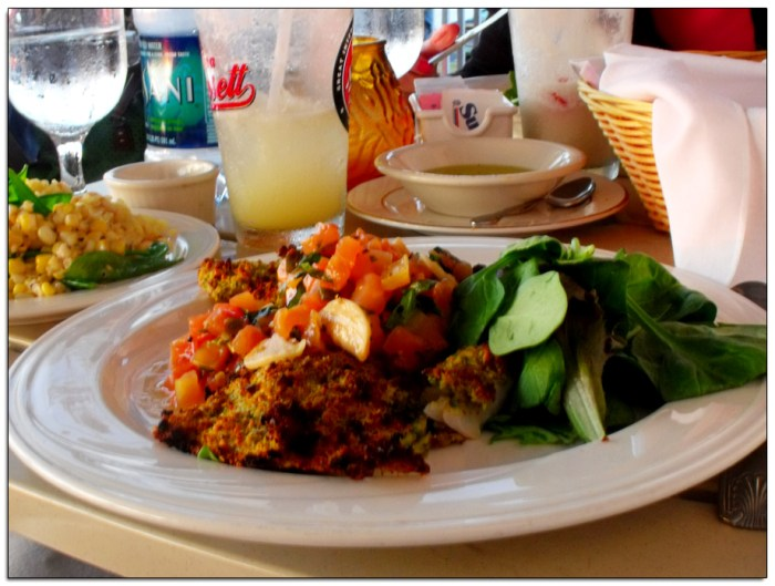 Dining on Block Island with Pistacio Crusted Cod