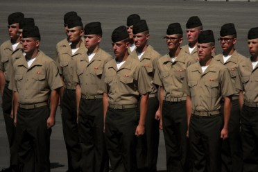 USMC Boot camp graduation with ears open eyes click