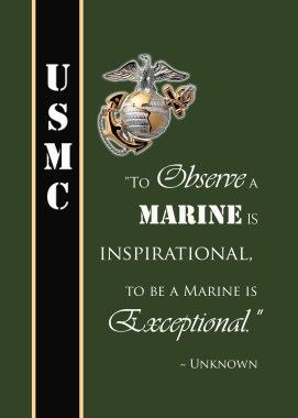 Famous Marine Corps Quote- To observe a marine is inspriational, to be a Marine is exceptional.