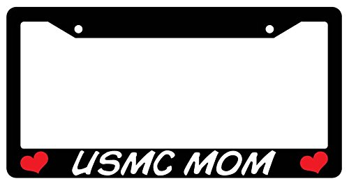 USMC Mom Black Plastic License Plate Frame