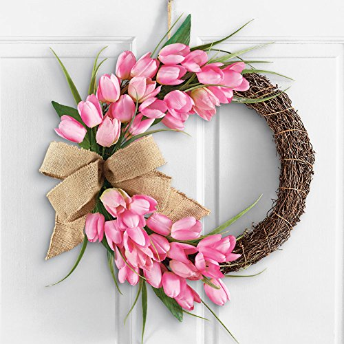 Pink Tulip Wreath Door Decor With Burlap Bow
