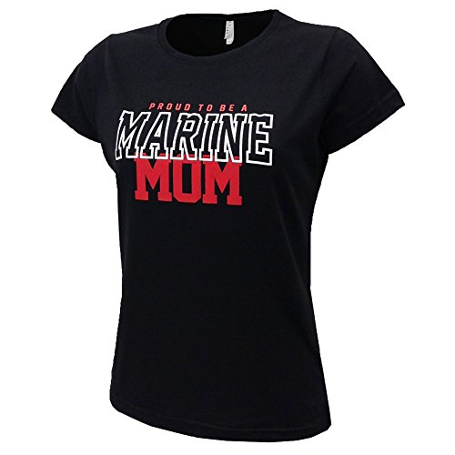 Marine USMC Women's Proud Mom T-Shirt (Large),Black