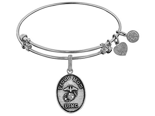 Angelica Collection Brass White Finish U.S. Marine Corps Expandable Bangle