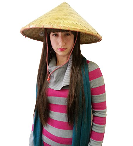 Deluxe Coolie Hats - Deluxe Traditional Asian Conical Coolie Hats - Pack of 2