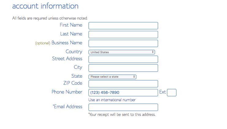 Bluehost Set Up Account Information