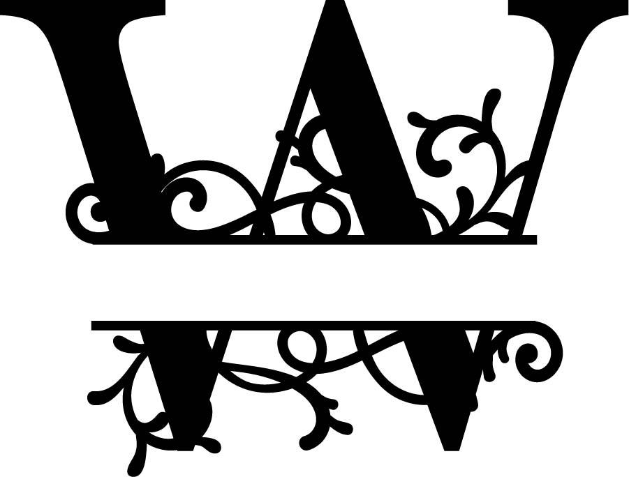 Split Monogram Letter W DXF File Free Download