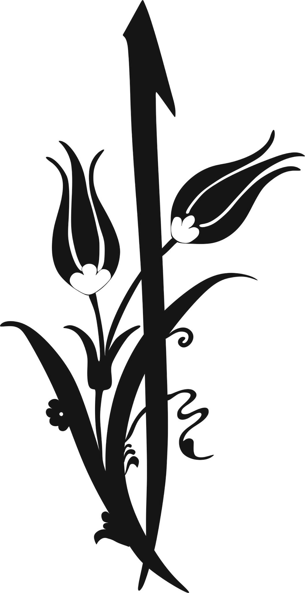 Black And White Flower Clipart Vector Image Free