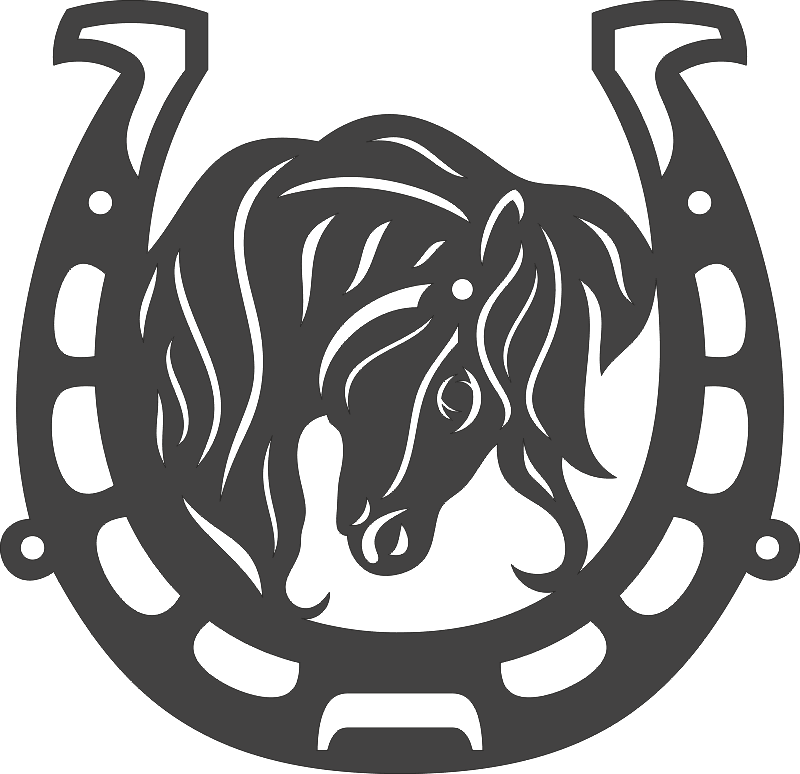 Horse Head With Horseshoe DXF File Free Download
