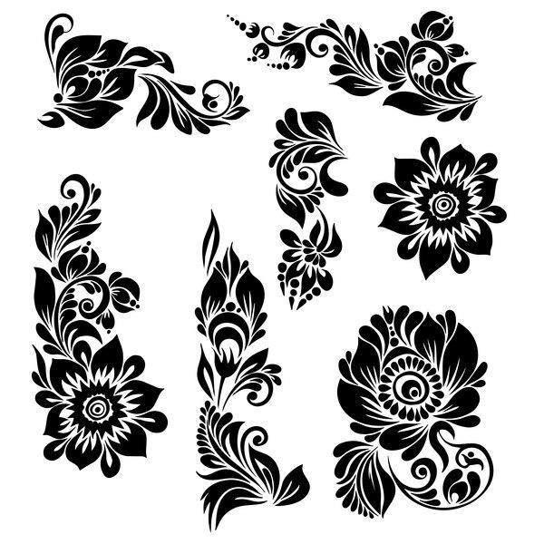 Black Ornaments Floral Vector Illustration Dxf File Free