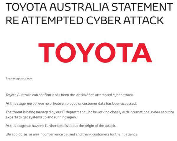 Toyota Australia driven offline by cyber attack, as hospital hit by ransomware