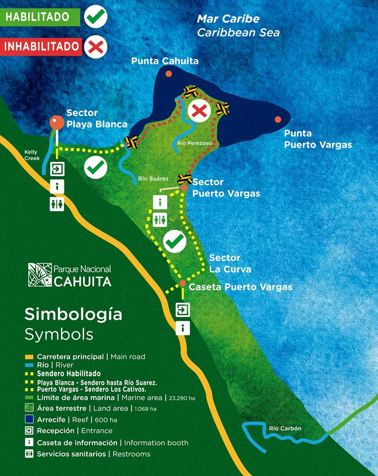 Parc National Cahuita carte covid 19